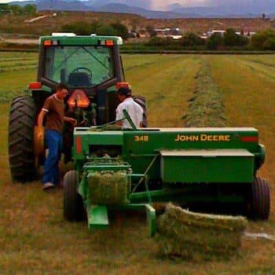 Snake Ranch Farm baling small bales