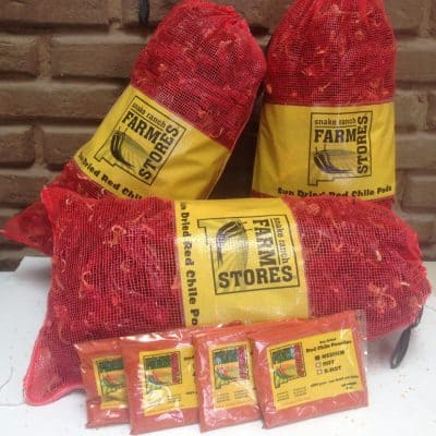 Snake Ranch Farm packaged red chiles ready for pickup