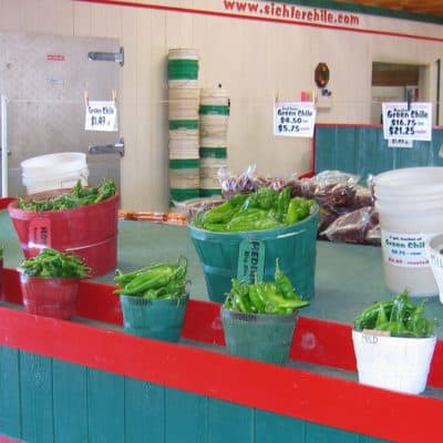 Buckets of Snake Ranch Farm green chiles