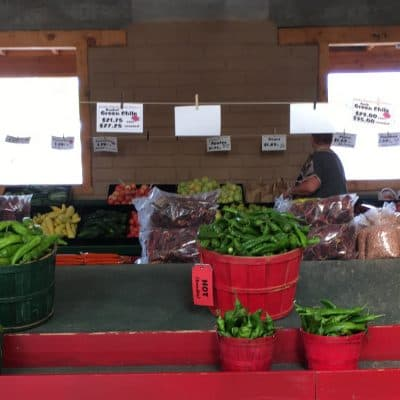 Snake Ranch Farm chiles being sold at a market