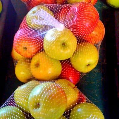 A bag of mixed apples grown at Snake Ranch Farm