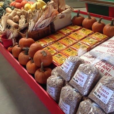 Fall display of beans, pumpkins and corn