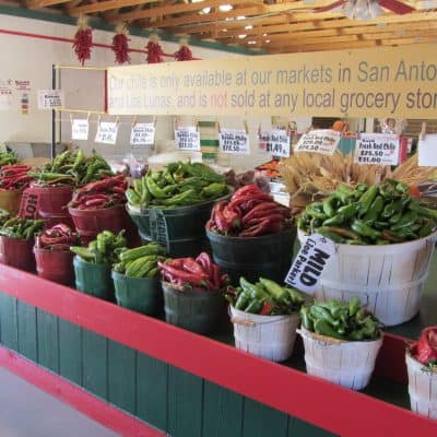 Red and green chile display by Snake Ranch Farm
