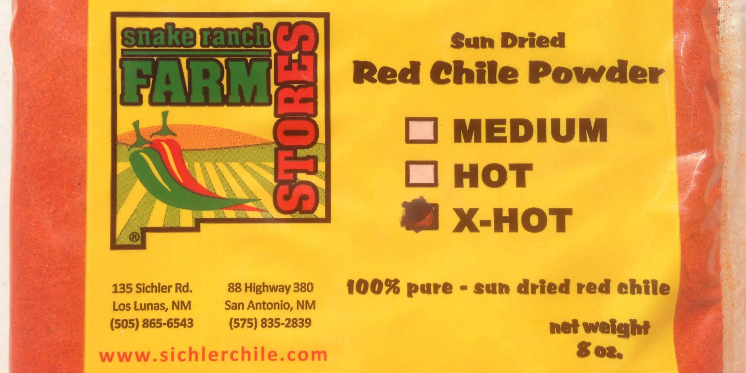 Sun dried red chile powder from Snake Ranch Farm